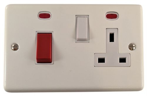 G&H CW29W Standard Plate Matt White 45 Amp DP Cooker Switch & 13A Switched Socket